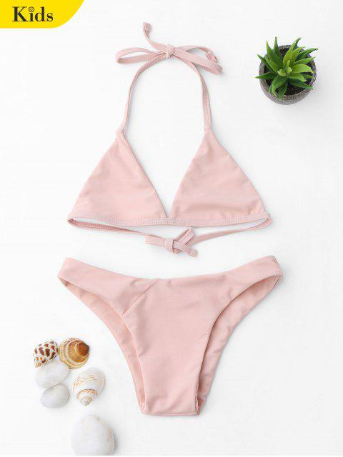unique Tie Back Halter Toddler Girls Bikini Set - PINK 6T Mobile