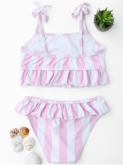 buy Frilled Striped Toddler Girls Bikini Set - PINK AND WHITE 5T Mobile