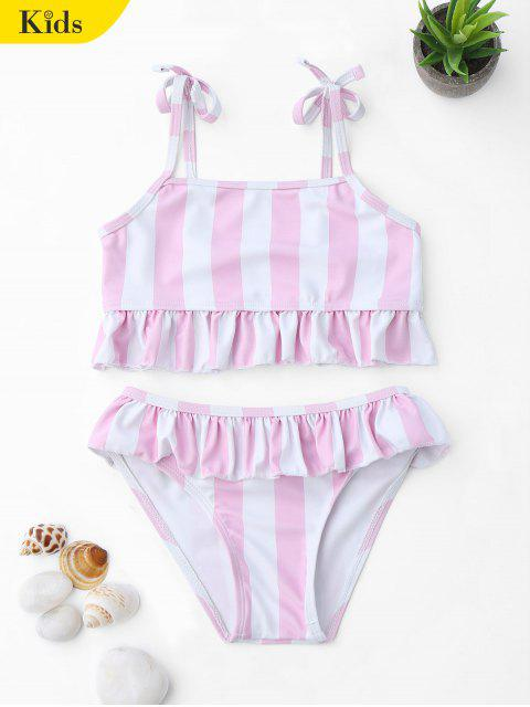 buy Frilled Striped Toddler Girls Bikini Set - PINK AND WHITE 5T Mobile