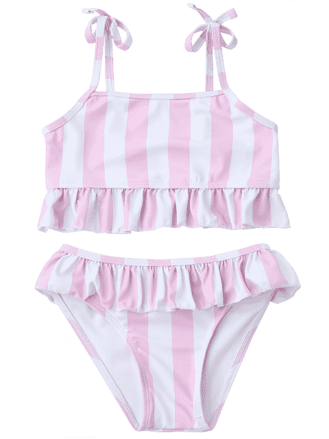 womens Frilled Striped Toddler Girls Bikini Set - PINK AND WHITE 6T Mobile
