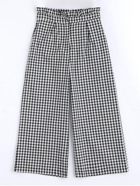 lady Plaid Ruffles Wide Leg Pants - CHECKED L Mobile
