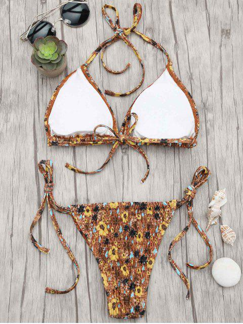 womens Floral Adjustable Tie Smocked String Bikini Set - FLORAL S Mobile