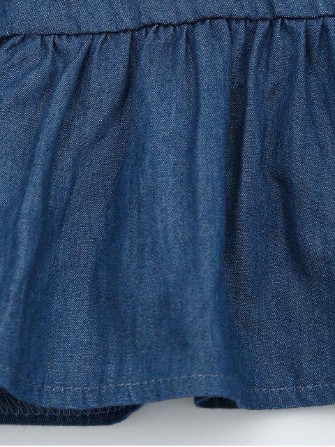 Off The Shoulder Flounce Denim Romper - Denim Bleu L Mobile
