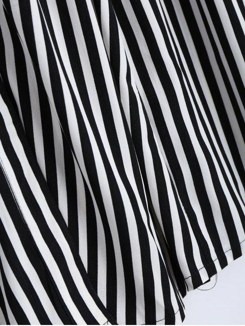 shops Single Breasted Belted Striped Tea Length Skirt - WHITE AND BLACK L Mobile