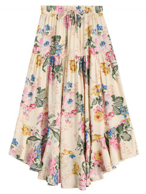 unique Ruffles Floral Drawstring Midi Skirt - FLORAL L Mobile