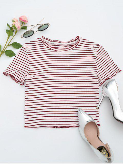 affordable Ribbed Texture Striped Cropped Tee - STRIPE S Mobile