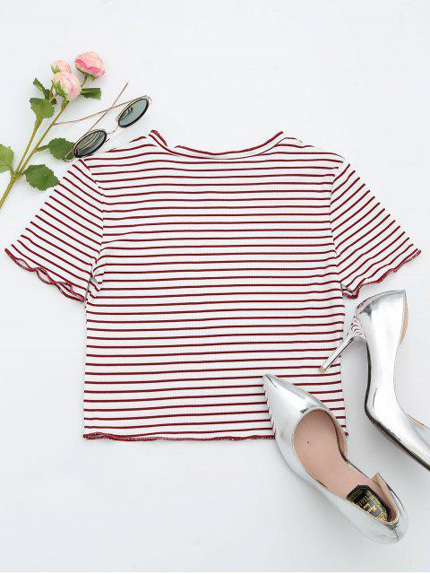 women's Ribbed Texture Striped Cropped Tee - STRIPE L Mobile