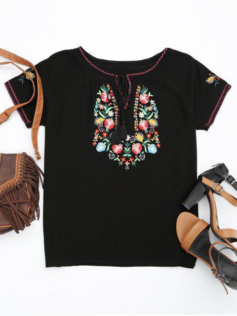 T-shirt à manches courtes en coton - Noir S Mobile