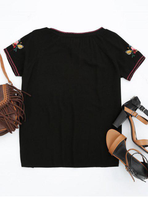 T-shirt à manches courtes en coton - Noir L Mobile