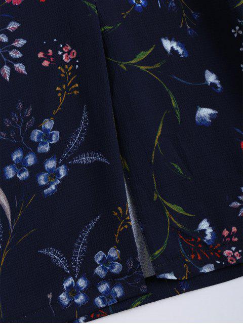 Slit Floral Self Tied Gaucho Pants - Bleu Violet L Mobile