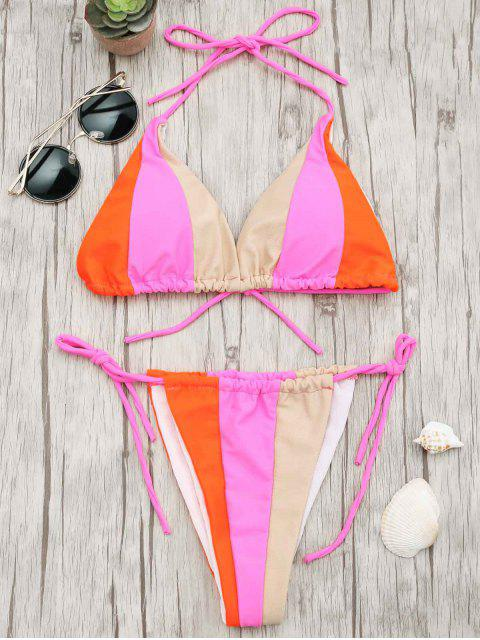 buy Adjustable Tie Color Block String Bikini Set - COLORMIX L Mobile