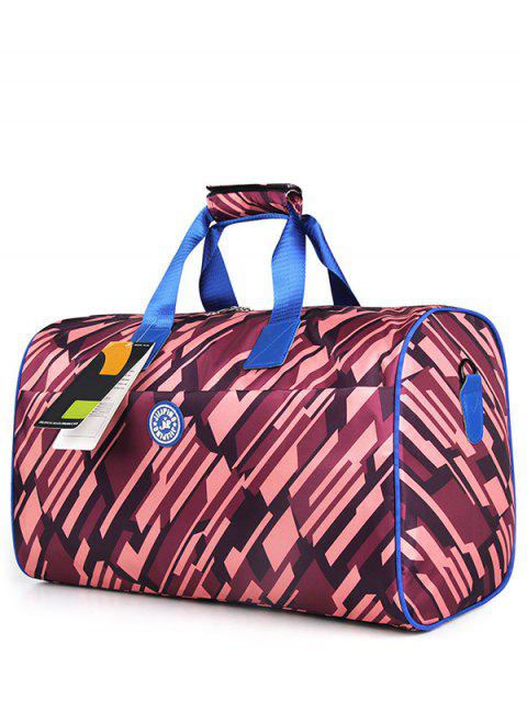 fancy Nylon Printed Gym Bag - PURPLISH RED  Mobile