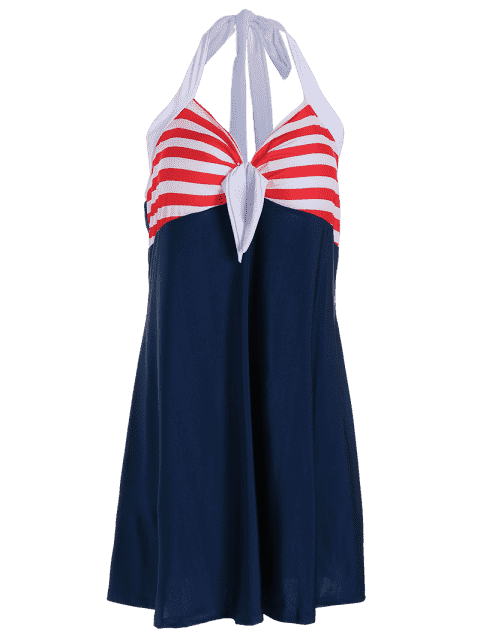 chic Halter Convertible Sailor Retro Swimdress Bathing Suit - RED AND WHITE AND BLUE L Mobile