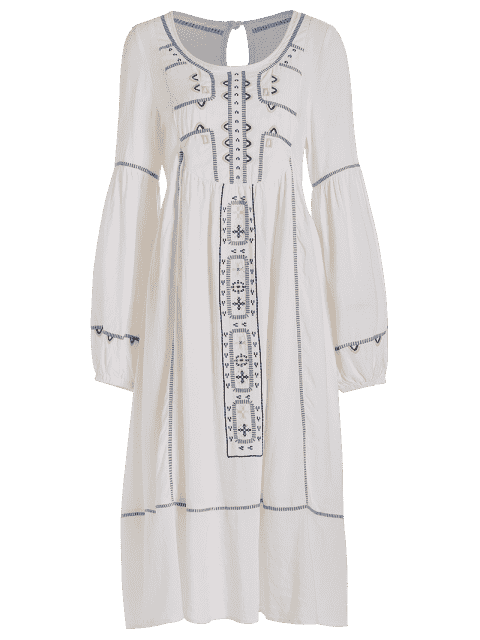 fancy Embroidered Midi Dress With Sleeves - WHITE M Mobile