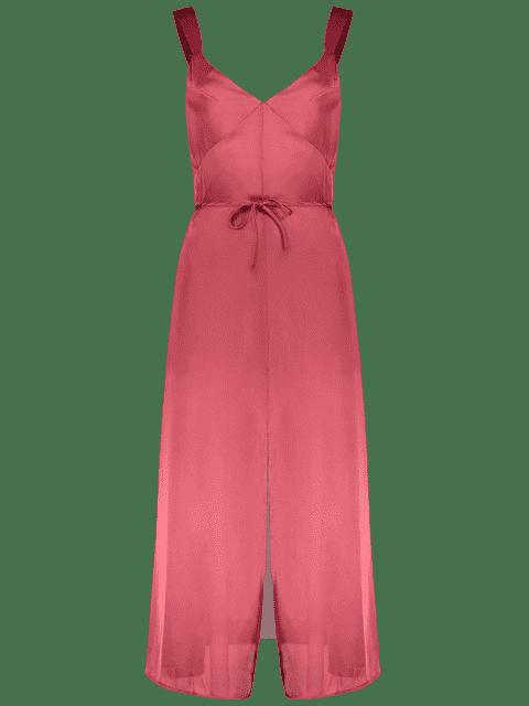unique Cami Backless Slit Dress - RED S Mobile