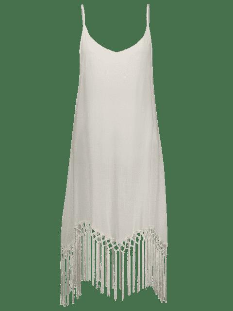 latest Fringed Cami Slip Dress - WHITE S Mobile
