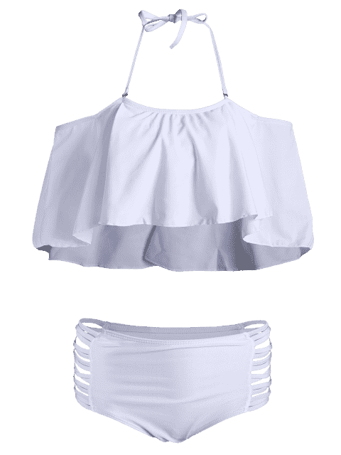 affordable Padded Ruffles Top With Cutout Briefs Bikini - WHITE S Mobile