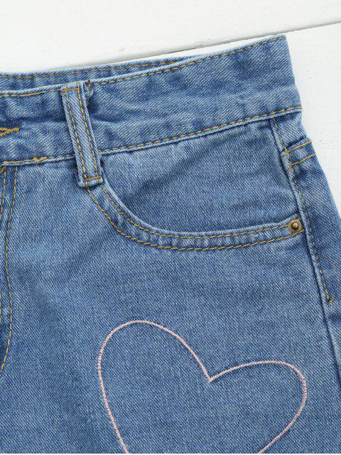 Cuisse au coeur en denim Shorts - Denim Bleu L Mobile