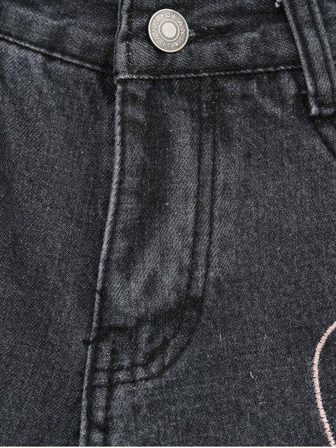 Cuisse au coeur en denim Shorts - Noir L Mobile
