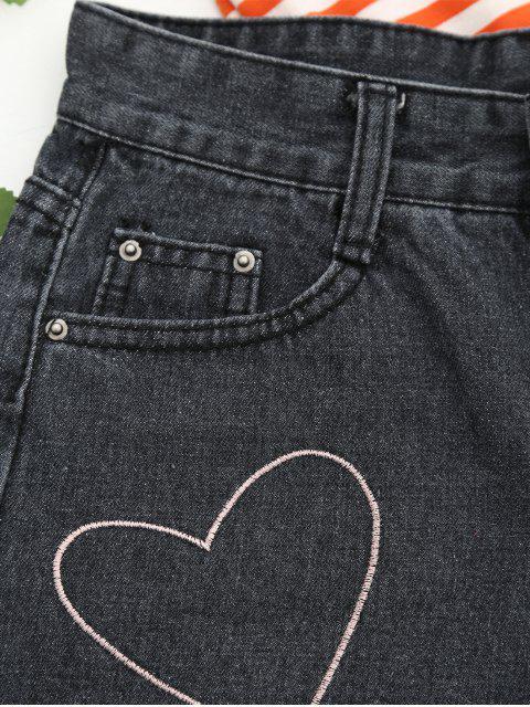 Cuisse au coeur en denim Shorts - Noir M Mobile