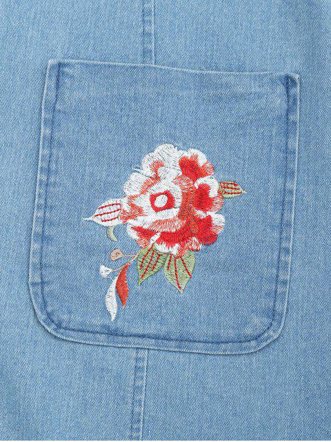 new Floral Embroidered Zippered Denim Dress - ICE BLUE M Mobile