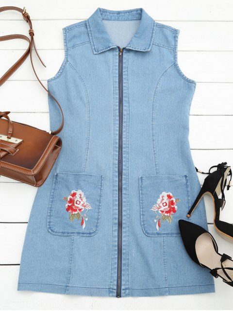 hot Floral Embroidered Zippered Denim Dress - ICE BLUE L Mobile
