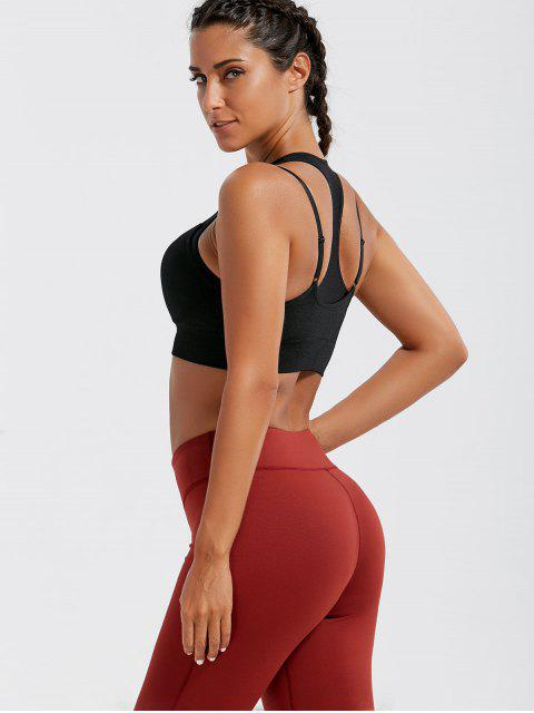 lady Padded Strappy Double-Layered Sports Bra - BLACK L Mobile