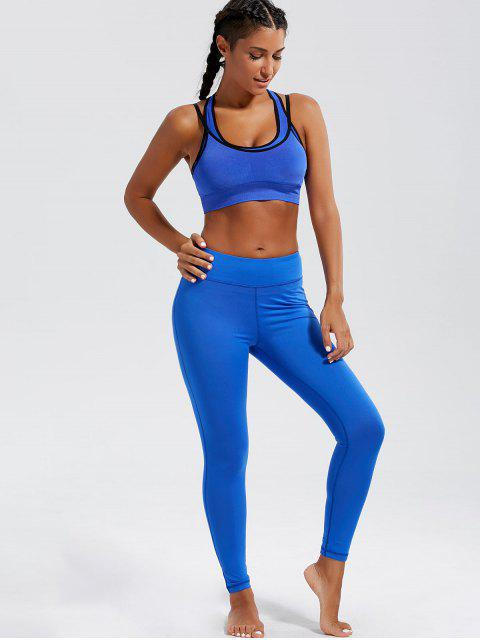 outfit Padded Strappy Double-Layered Sports Bra - BLUE M Mobile