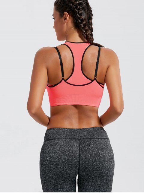 shops Padded Strappy Double-Layered Sports Bra - ORANGEPINK M Mobile