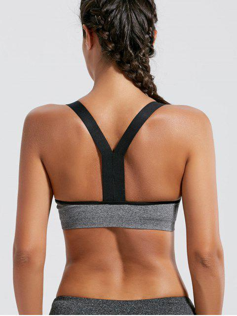 fancy Padded Seamless Workout Bra - GRAY S Mobile