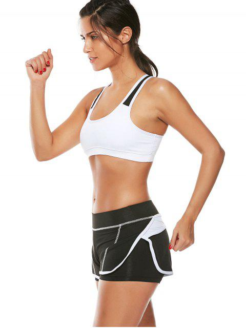 women Strappy Padded Sports Bra and Layer Running Shorts - WHITE S Mobile