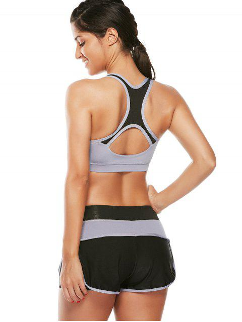 ladies Strappy Padded Sports Bra and Layer Running Shorts - GRAY L Mobile