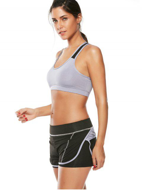 lady Strappy Padded Sports Bra and Layer Running Shorts - GRAY M Mobile