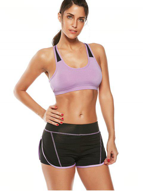 new Strappy Padded Sports Bra and Layer Running Shorts - PURPLE M Mobile
