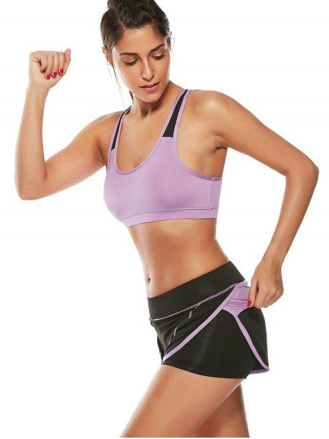 hot Strappy Padded Sports Bra and Layer Running Shorts - PURPLE S Mobile