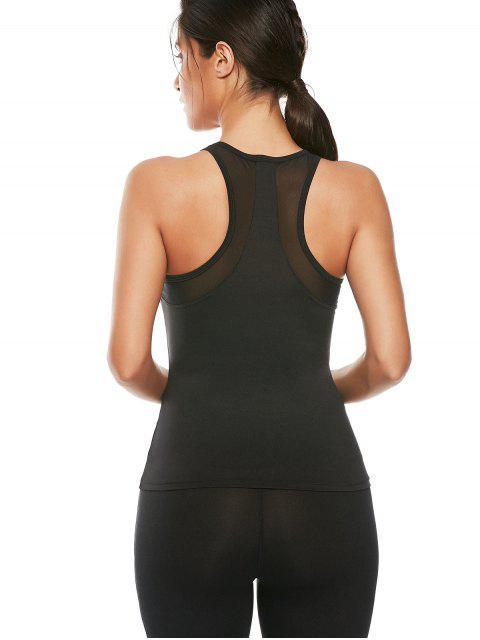 latest Mesh Panel Workout Running Vest - BLACK M Mobile
