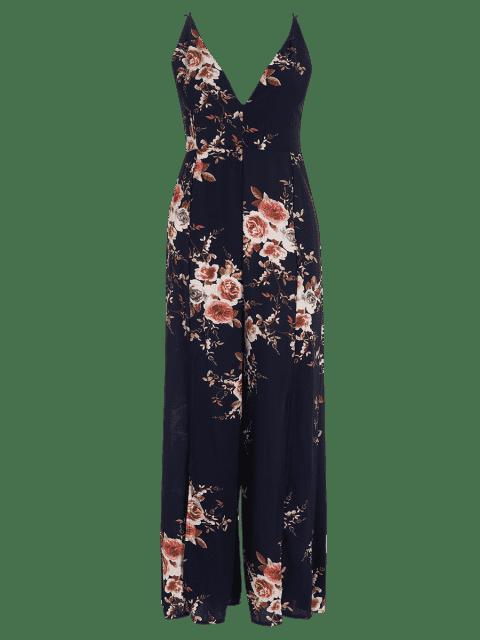 hot Criss Cross High Slit Maxi Floral Flowy Jumpsuit - PURPLISH BLUE S Mobile