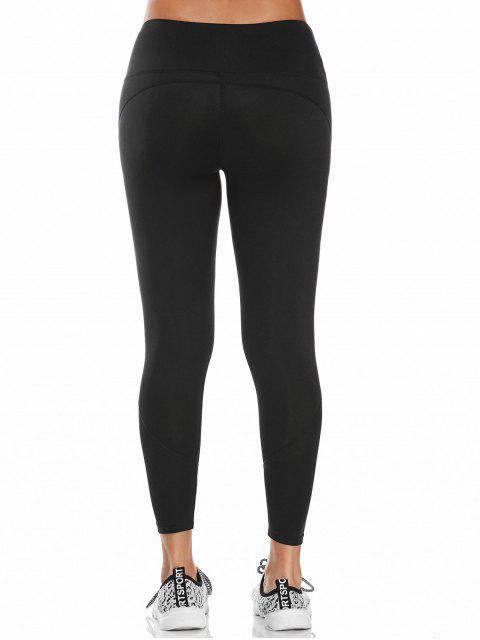 best Midi Waist Capri Mesh Panel Workout Leggings - BLACK S Mobile