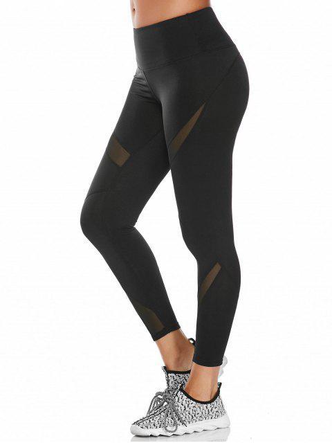 online Midi Waist Capri Mesh Panel Workout Leggings - BLACK M Mobile