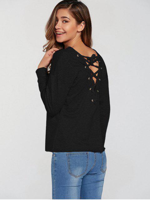 Lace-Up lâche Sweatshirt - Noir L Mobile