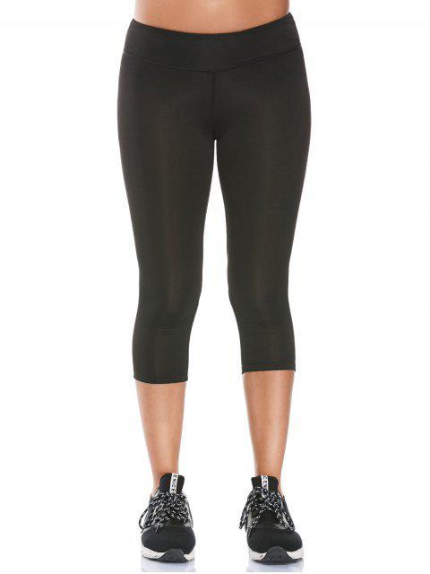 shop See Through Mesh Panel Cropped Fitness Leggings - BLACK S Mobile