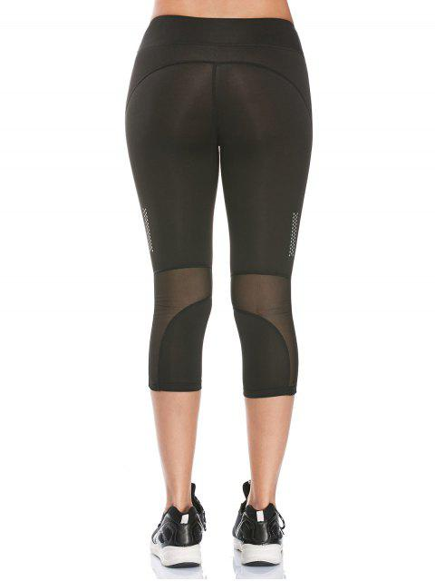 shops See Through Mesh Panel Cropped Fitness Leggings - BLACK M Mobile