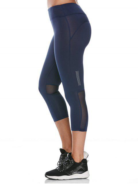 trendy See Through Mesh Panel Cropped Fitness Leggings - DEEP BLUE L Mobile