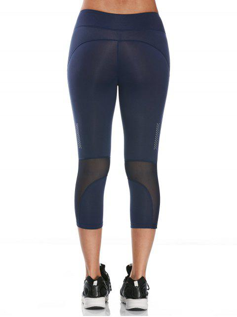 fashion See Through Mesh Panel Cropped Fitness Leggings - DEEP BLUE M Mobile