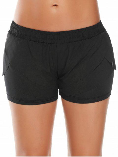 affordable Elastic Waist Layered Sports Running Shorts - BLACK L Mobile