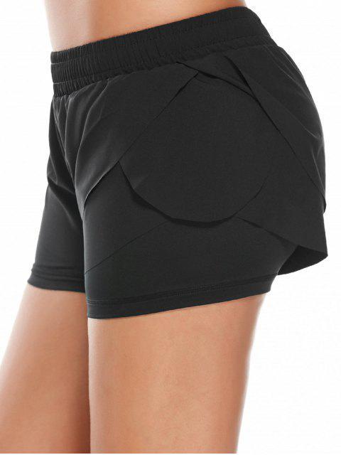 Shorts de Course Gym à Taille Élastique en Couches - Noir L Mobile
