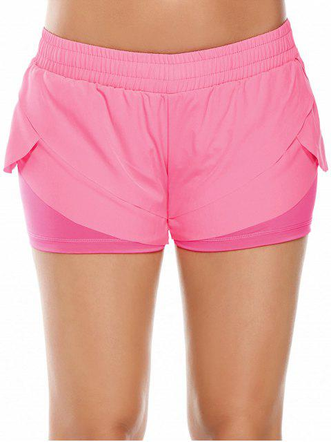 women Elastic Waist Layered Sports Running Shorts - PINK M Mobile