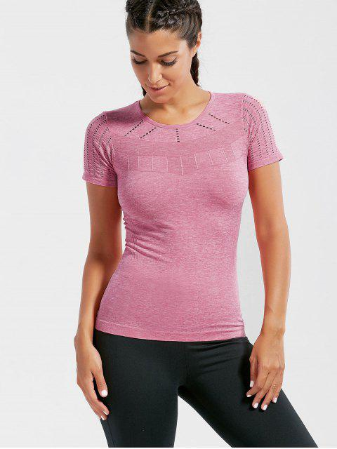 online Breathable Ripped Workout T-shirt - DEEP PINK M Mobile