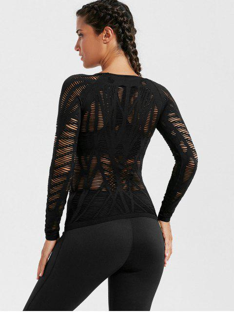 shops Long Sleeve Sheer Ripped Sports T-shirt - BLACK M Mobile