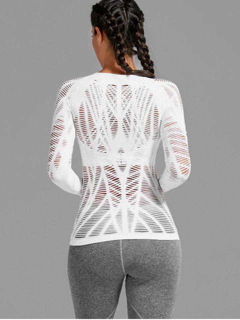 trendy Long Sleeve Sheer Ripped Sports T-shirt - WHITE L Mobile